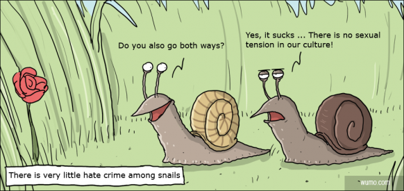 Hate crime amongst snails is nonexisting