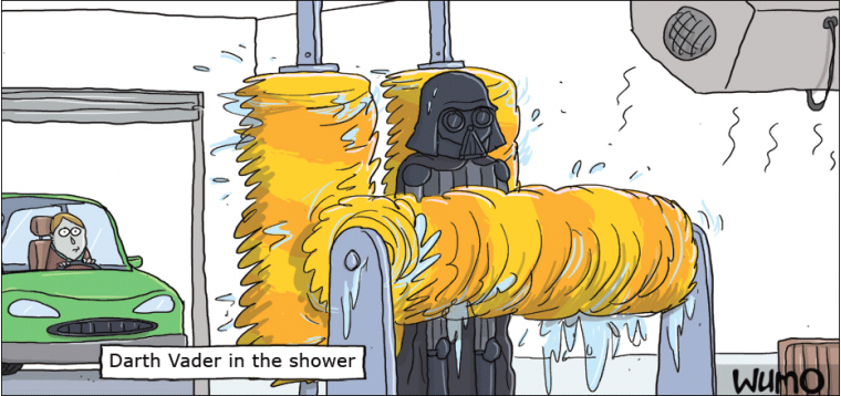 Darth Vader in the shower