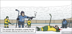 Hard-hitting hockey player
