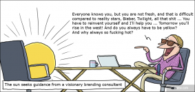 The sun seeks guidance for a visionary branding consultant