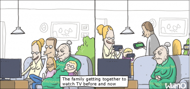 The whole family watching TV together