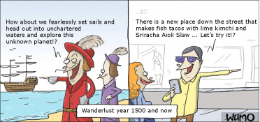 Wanderlust year 1500 and now
